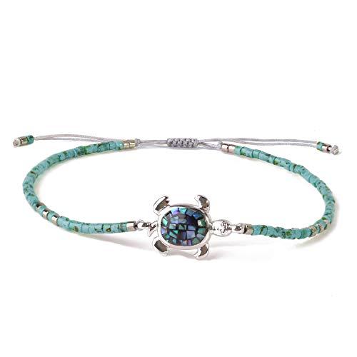 KELITCH Frau Armbänder Zum Mädchen Exquisit Opal Abalone Schildkröte Japanisch Importieren Perle Einstellbar Handgefertigt Geflochten Seil Armreif Charme Armband Freundschaft Geschenk (Lake Blue)