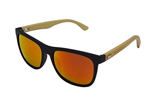 Gamswild WM1028 Gafas de sol de bambú, unisex, color rojo, naranja, verde, amarillo y verde, rojo,