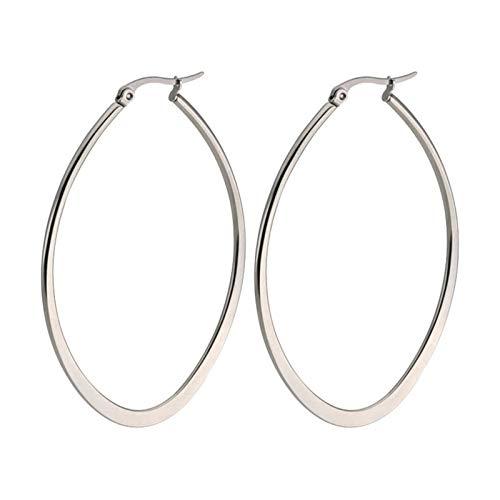 KnBob Hoop Earrings Silver Big Circle Earrings Stainless Steel for Women Men