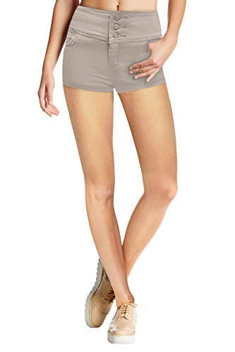 Hybrid & Company Womens Butt Lifting Twill Denim Shorts SH45076 Khaki 9