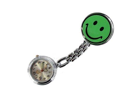 Schwesternuhr Smiley Clip grün Tiga-Med Krankenschwesteruhr Kitteluhr Pulsuhr