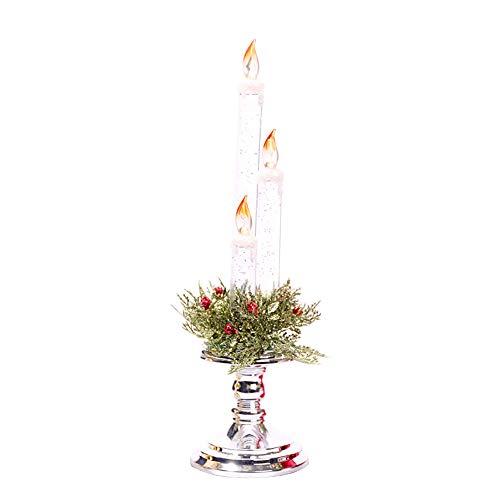 JXHD Bougie éLectronique De NoëL/Santa Night Light Santa DéCoration Parfaite pour La Saint-Valentin, Halloween, Un Anniversaire Ou Un Bar, 10 × 36CM,Silver