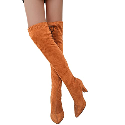 seanxw Boots for Women Tiger Leopard Pattern Thin Heels Over The Knee High Tube Boots Pointed Toe Shoes Cowgirl Booties Western Boot Winter Autumn Womens Long Boot