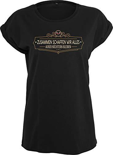 Damen T-Shirt: Zusammen schaffen wir Alles - Außer nüchtern bleiben - Geschenk für Frauen Frau Mädchen - Schwarz JGA Junggesellinnen-Abschied Party Urlaub Lustig Fun-Shirt Saufen Bier Fussball (XL)