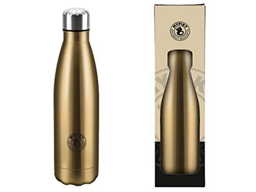 MYPIKY Botella de 500 ml de acero inoxidable de doble pared y cierre hermético (color dorado)