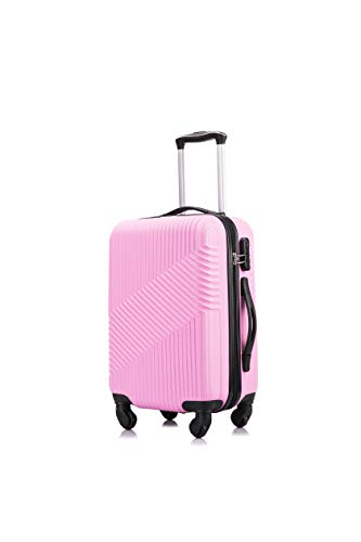 Flymax 55x35x20 4 Wheel Super Lightweight Cabin Luggage Suitcase Hand Carry on Flight Travel Bags Approved On Board Fits Flybe Easyjet Ryanair Jet 2 BA Pink