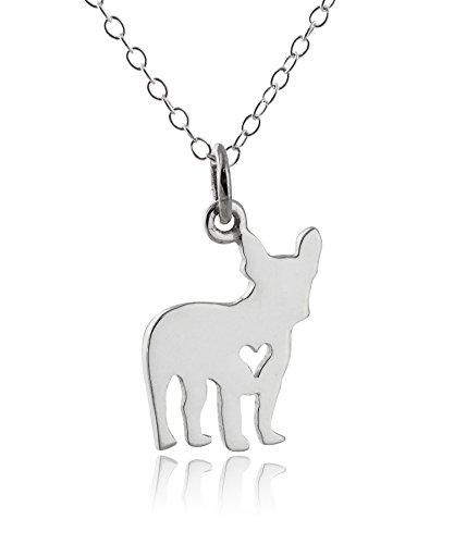 FashionJunkie4Life Sterling Silver French Bulldog with Tiny Heart Cutout Pendant Necklace, 18' Chain