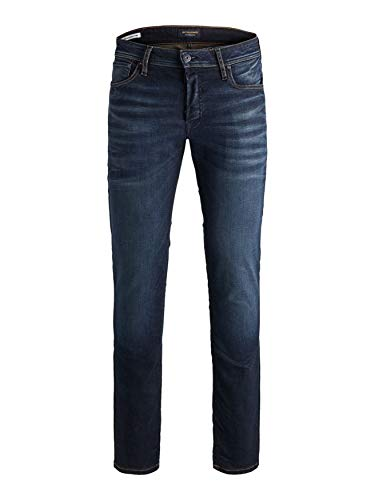 Jack & Jones Men Jeans TIM JJ Original Straight Legs Slim Fit Flat Front, Couleurs:Bleu-foncé, Taille de Pantalon:32W / 30L