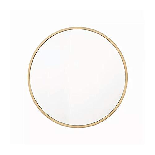 QARYYQ Espejo Redondo 30-60 cm Espejo de Pared Espejo de Pared Cuarto de baño Sala de Estar y Entrada Marco de Metal Espejo de vanidad Dorado Espejo de Pared (Size : Diameter-30cm)