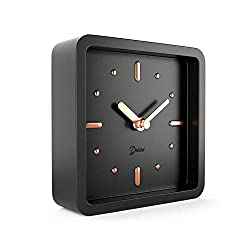 Driini Modern Mid Century Desk and Table Analog Clock (Black Rose Gold) - Battery Operated with Silent Sweep Movement – Small Square Desktop Clocks for Mantel, Nightstand, Office, or Bedrooms