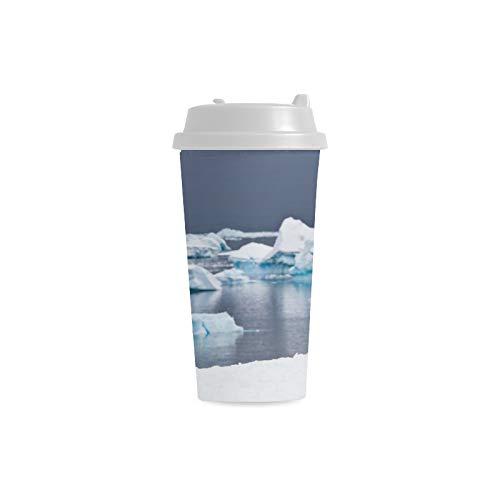 Netter Pinguin Dump auf Eisberg kundenspezifischem personalisiertem Druck 16 Unze doppelwandiger Plastikisolierungssport Wasser Flaschen Schalen Pendler Reise Kaffeetassen für Studenten Frauen Milch