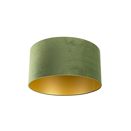 QAZQA Baumwolle Lampenschirm Velours grün 50/50/25 mit Gold/Messingener Innenseite, Rund gerade Schirm Pendelleuchte,Schirm Stehleuchte