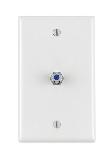 Leviton 40539-MW Midsize Video Wall Jack, F Connector, White