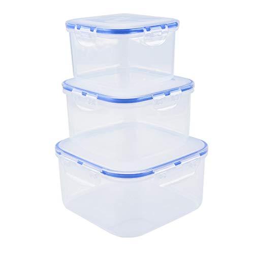 WSYW Organizador de alimentos Set de 3 cajas de almacenamiento de plástico transparente para frigorífico, lavavajillas, congelador, cocina, recipientes de alimentos