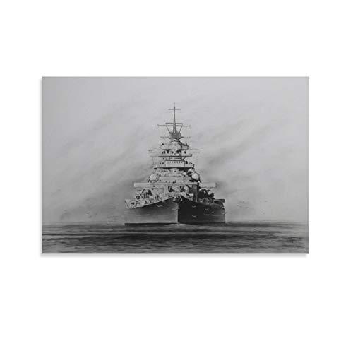 IEJDA Battleship Bismarck Poster, dekoratives Gemälde, Leinwand, Wandkunst, Wohnzimmer, Poster, Schlafzimmer, Gemälde, 40 x 60 cm