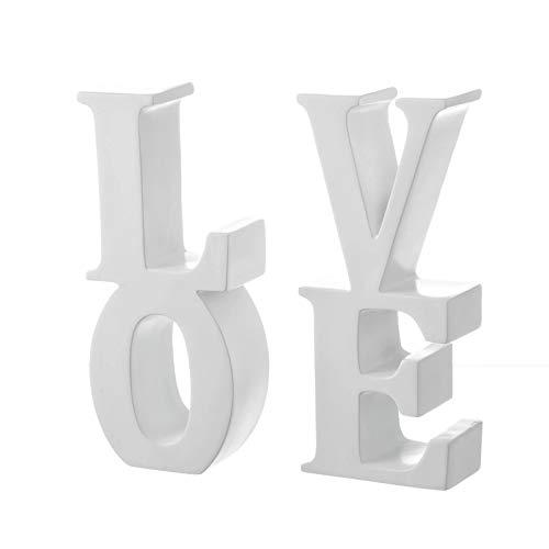 D,casa - Sujetalibros Original Blanco poliresina Love