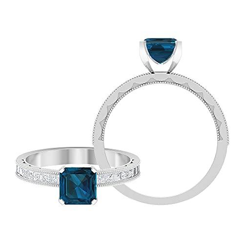 Anillo de promesa único, 6 mm de corte asscher, anillo de oro blanco, Metal, Topacio azul - Londres,