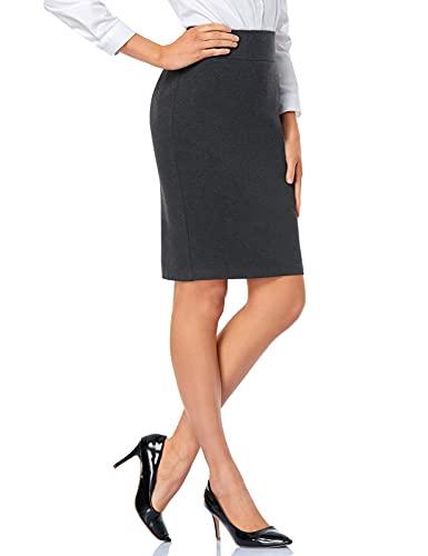 Tapata Falda Lápiz Elástica de Mujer Cintura Alta Longitud de La Rodilla Ponte Oficina Trabajo Bodycon Midi Falda, Carbón, Espalda Abertura, S