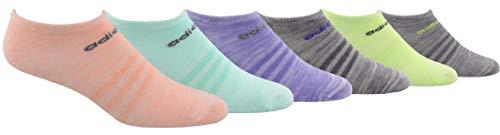 adidas Women's Superlite No Show Socks (6-Pair), Light Flash Orange/Easy Green/Light Flash Purple/L, Medium, (Shoe Size 5-10)