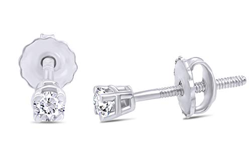 0.05cttw Very Small Micro Cartilage Studs Round Natural Diamond Stud (IGI Certified 0.70 ct & up) Plus Quality Screw Back Earrings in 14k Solid White Gold, 0.04 Ctw - 2.00 Ctw