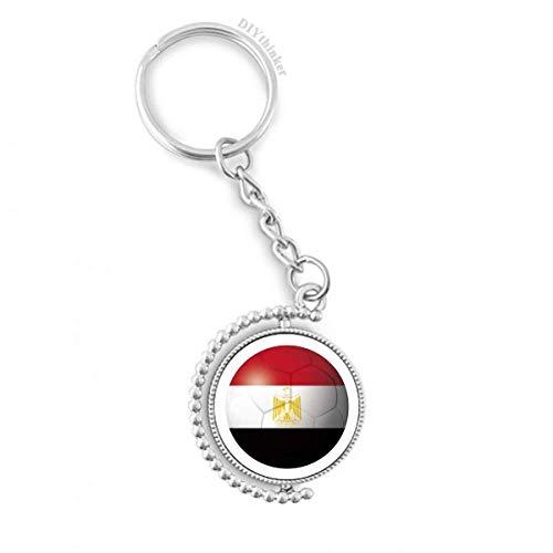 DIYthinker Ägypten NationalFlaggege Fußball-Fußball-Drehbare Schlüsselanhänger Ringe 1.2 Zoll x 3.5 Zoll Mehrfarbig
