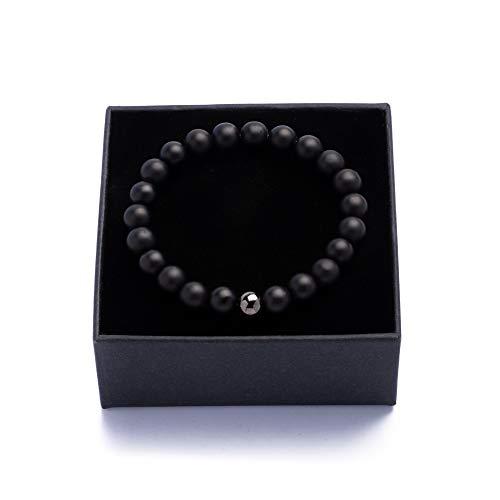Karl of Sweden | Perlenarmband für Männer | Schwarz Armband Herren mit Edelsteinen & Edelstahl Perle | Onyx | Schmuckschachtel und Samtbeutel | Tolle Geschenkidee | Handgemacht