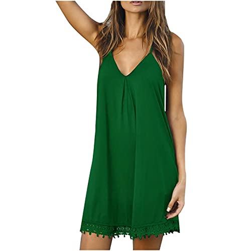 Vestidos de verano para mujer, vestido de sol para mujer, suelto, informal, con cuello en V, vestido de gasa hasta la rodilla, vestido de túnica