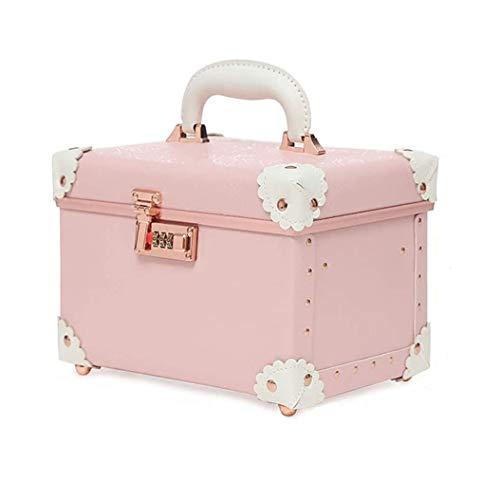 CD Rack Storage Case Rack password Box Retro cosmetico portatile, caso cosmetico di grande capacità, caso cosmetico (colore: rosa/Dimensioni: 27 * 19 * 19 centimetri)