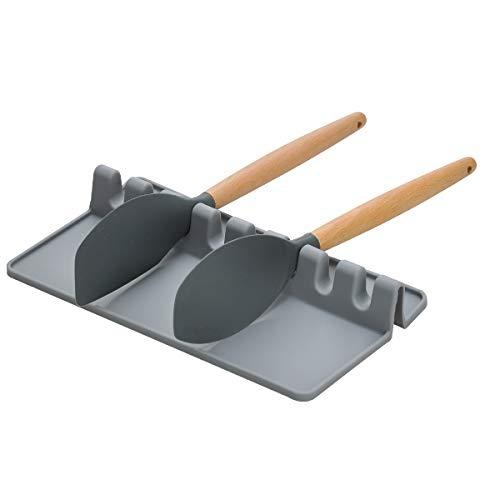 Songway Silicone Kitchen Utensils Rest,Spoon Rest,Giant Spoon Spatula Ladle Fork Holder,Non Slip Heat Resistant Cooking Tools Utensils Rack Flatware Rest Kitchen Utensils Mat (Grey, L)