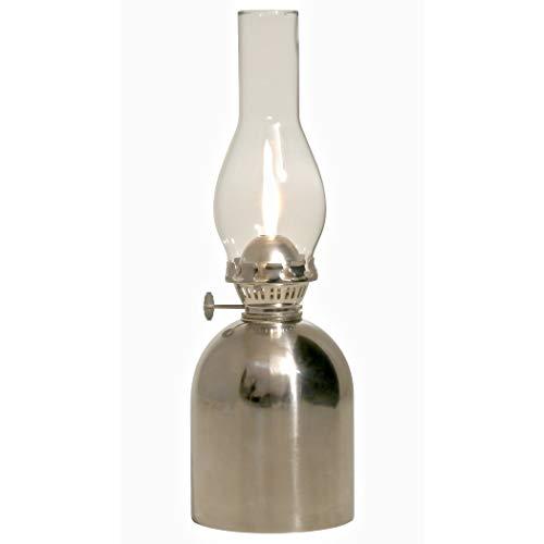 Loggi Petroleumlampe Edelstahl poliert, Höhe 24,5 cm, Perkeo-Brenner,