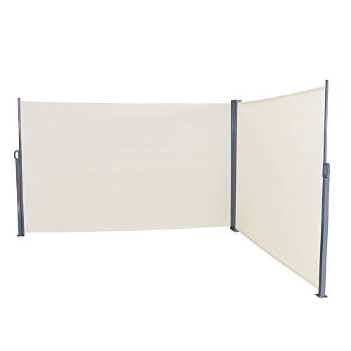LARS360 Ausziehbar Seitenmarkise Sonnenschutz Sichtschutz Windschutz, Seitenwandmarkise Markisenstoff für Balkon und Terrasse Camping, Aus Polyester und Alu Metall Ständer (160x600cm, Beige)