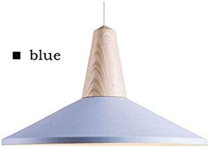 Lampe De Table à Led Veilleuse Enfantnordic Creative Pendentif En Aluminium En Bois Couleuré Lumière E27 Lampe à Suspension Simple Tête Pour Restaurant Bar Café Magasin De VêteHommests, Bleu 36Cm