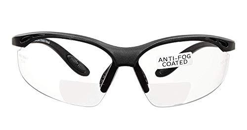 voltX 'Constructor' BIFOKALE Schutzbrille mit Lesehilfe CE EN166F Zertifiziert/Sportbrille für Radler (KLAR +3.5 Dioptrie) enthält Sicherheitsband – Bifocal Safety Glasses, Anti-Fog UV400 Linse