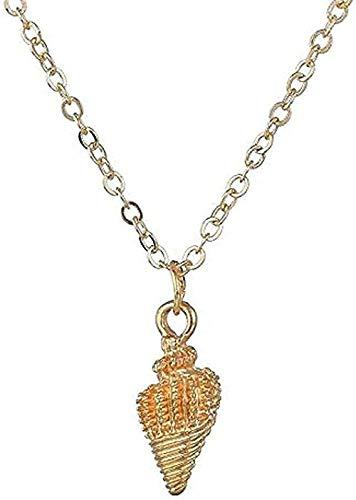 ZGYFJCH Co.,ltd Collar Colgante de Concha de Oro Collar de Metal Collar de Mujer Vacaciones Playa Boho joyería