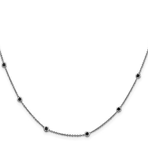 14k White Gold Black Diamond Chain Necklace Pendant Charm Fine Jewellery For Women Mothers Day Gifts For Her