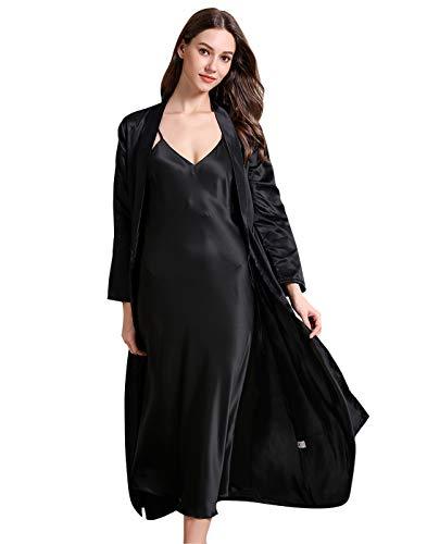 FEOYA Nachtkleid mit Morgenmantel Damen Satin Negligee Lang und Kimono Sleepwear 2 Stück Set Pyjama Robe Nachthemd mit Kimono Damen XL Schwarz