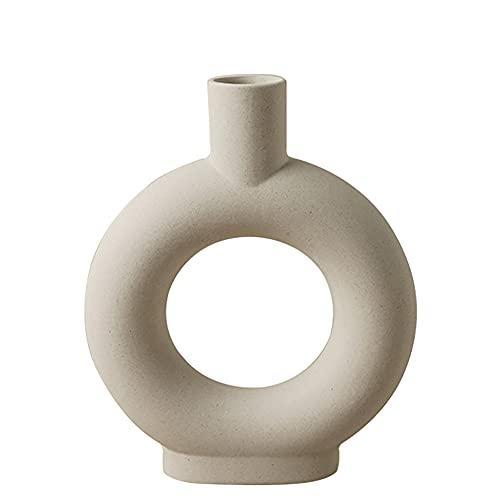 Vase Nordic Ring Form Modern Deko , Handmade Vasen für Pampasgras , Matt Keramik Wohnzimmer Deko (Beige Rund)