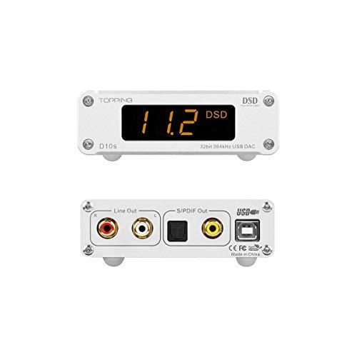 TOPPING D10s DAC MINI USB DAC XMOS XU208 ES9038Q2M DSD256 PCM 384kHz Audio Decoder audio desktop ad alta risoluzione (Argento)