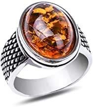 Anello da uomo in argento 925 con ambra e Argento, 20