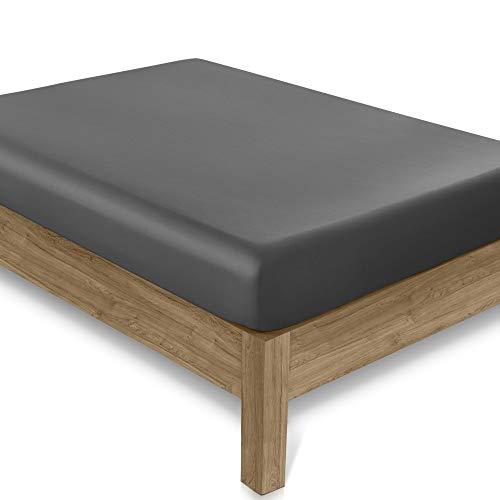 Amazon Brand – Umi Spannbetttuch 400 Fäden - Doppelbett-Spannbettlaken 100 % Baumwolle, Farbe Dunkelgrau, elastische Tiefe Taschen, 140x200 cm
