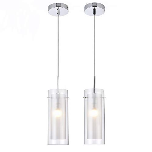 MonDaufie 2 Pack Cylinder Bar Pendant Light with Clear and Frost Glass Hanging Pendant Lighting Fixture for Dining Room Bathroom Kitchen Island Chrome Finish