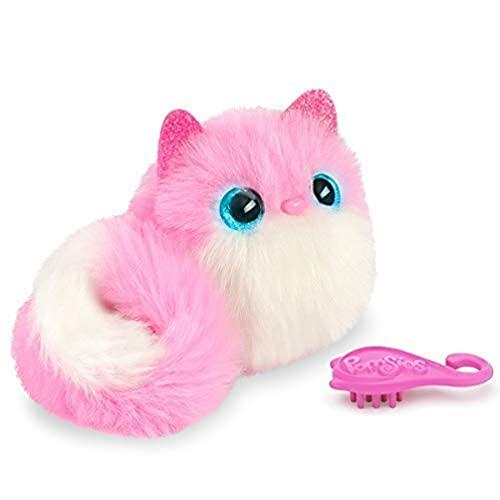 Bandai - Pomsies - Pinky - Chaton rose et blanc - Peluche interactive qui s'accroche partout - 80734