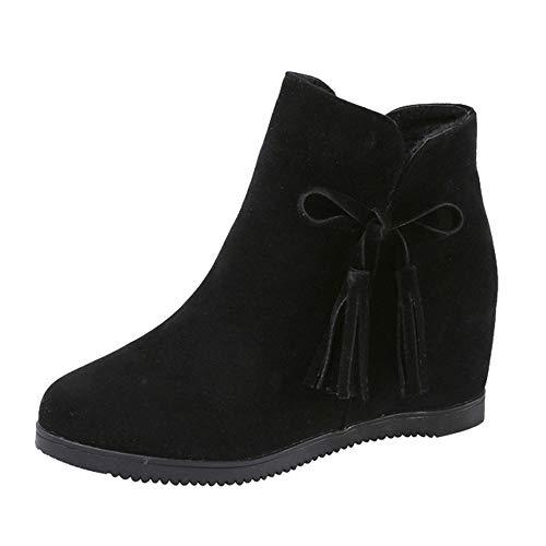 ZARLLE Botines de Mujer Botas con cuña Mujer Invierno Moda Botas para Mujer OtoñO Invierno Botines Planos Bajos Zapatos con Borlas Negras Botas Mujer con Plataforma