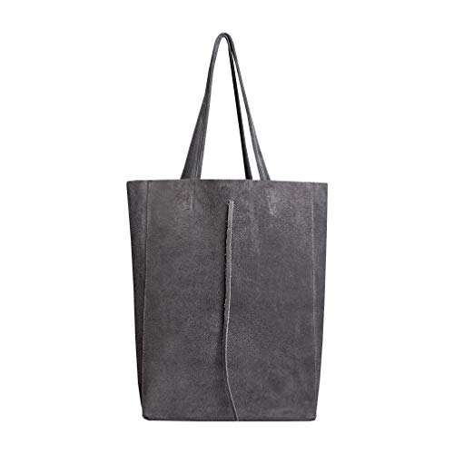 SKUTARI Original Vittoria Ruvido Shopper, Laptop- und Einkaufstragetasche aus echtem Veloursleder mit extra langen Griffen und Reißverschlussinnentasche | 36 x 38 x 13 cm (Grey)