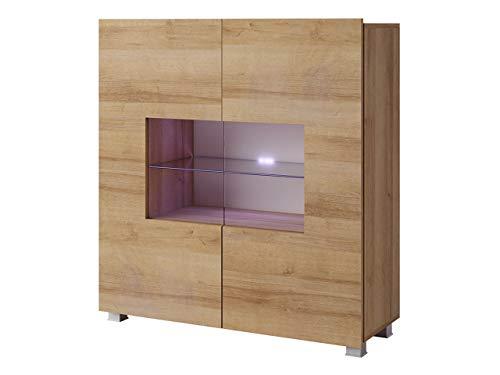 Mirjan24 Kommode Calabrini BR01 mit 2 Türen, Sideboard, Anrichte, 100x107x35 cm, Highboard, Mehrzweckschrank, Wohnzimmer (Eiche Gold, ohne Beleuchtung)