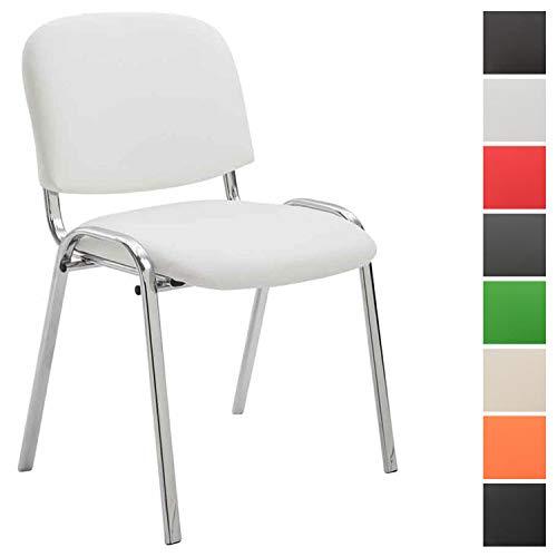 CLP Konferenzstuhl Ken Chrom mit hochwertiger Polsterung und Kunstlederbezug I Stapelstuhl mit robustem Metallgestell in Chromoptik Weiß