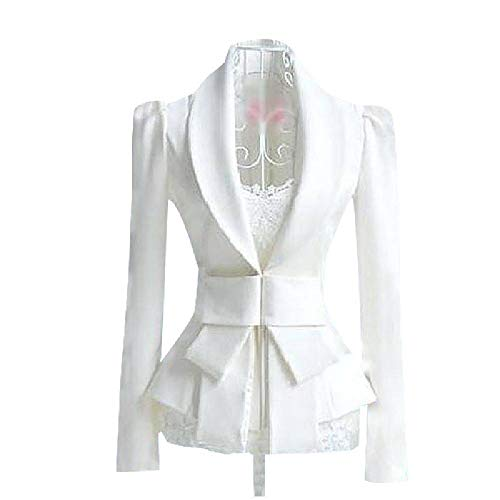 2019 Mujeres Blazer Blanco Feminino Spring Blazers Mujeres Manga Larga OL Blanco Big Bow Traje ultradelgado S-XL Tops Cintura Arco
