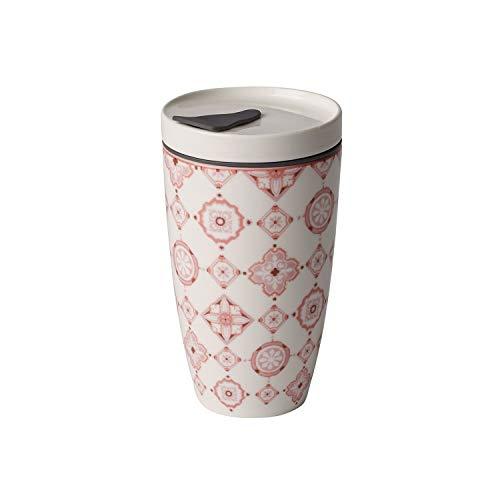 like. by Villeroy und Boch To Go Rosé Coffee-to-Go-Becher, 2-teilig, 350 ml, Premium Porzellan/Silikon, Weiß/Pink