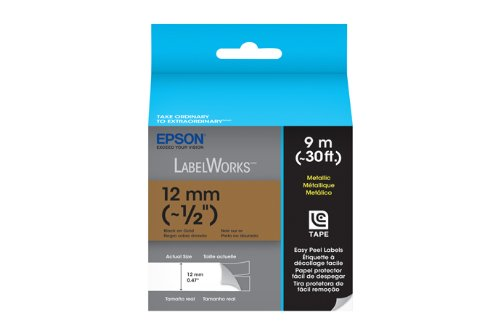 Epson LabelWorks Metallic LC Tape Cartridge ~1/2-Inch Black on Silver (LC-4SBM9)