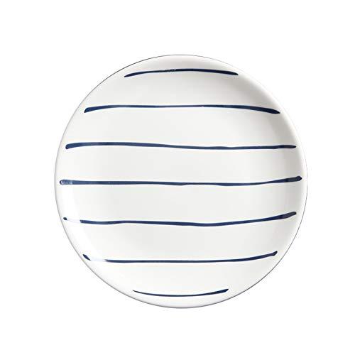 hongbanlemp Platos de cena blanco con rayas azules, plato de cerámica de 20,3 cm, apto para pasta, postre, ensalada, plato de cena apto para microondas, 4 platos (Color: A)